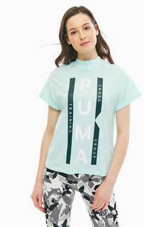 Хлопковая футболка мятного цвета с высоким воротом Puma