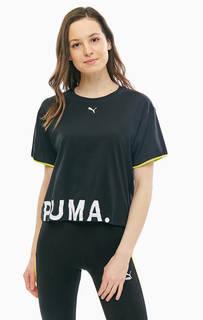 Хлопковая черная футболка с принтом Puma