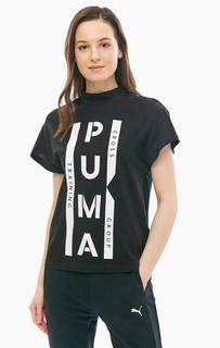 Хлопковая футболка черного цвета с высоким воротом Puma