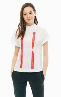Хлопковая футболка белого цвета с высоким воротом Puma