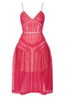 Розовое ажурное платье Self Portrait