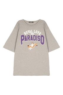 Серая футболка с принтом Dolce & Gabbana