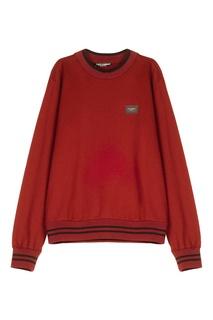 Бордовый свитшот с отделкой Dolce & Gabbana