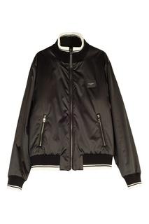 Черная куртка с контрастной отделкой Dolce & Gabbana