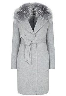 Шерстяное пальто с отделкой мехом енота La Reine Blanche