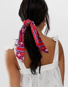 Бордовый головной платок с принтом в стиле банданы ASOS DESIGN - Мульти