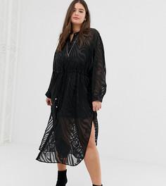 Полупрозрачное платье-кимоно с зебровым принтом Religion Plus - Черный