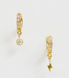 Серьги-кольца из позолоченного серебра с подвесками в виде молнии и кристалла ASOS DESIGN - Золотой