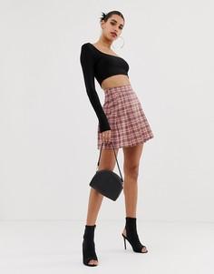 Розовая плиссированная мини-юбка в клетку Boohoo - Мульти