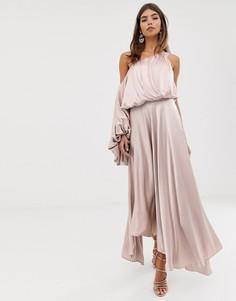 Атласное платье на одно плечо ASOS EDITION - Розовый