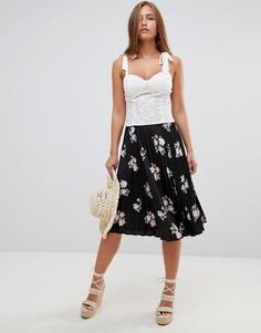 Плиссированная юбка миди с цветочным принтом Gilli - Черный
