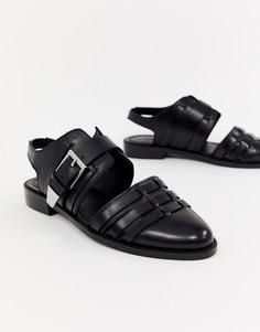 Черные кожаные туфли на плоской подошве с вырезами ASOS DESIGN Minister - Черный