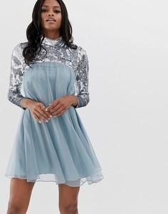 Свободное платье миди с длинными рукавами ASOS DESIGN - Синий