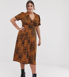 Чайное платье миди со звериным принтом ASOS DESIGN Curve - Мульти