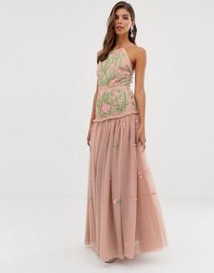 Платье макси с открытой спиной, цветочной вышивкой и пайетками ASOS EDITION - Розовый
