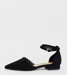 Черные туфли на плоской подошве для широкой стопы с фактурной отделкой по краю RAID - Черный