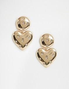 Золотистые серьги с сердечками в винтажном стиле New Look - Золотой