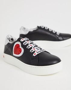 Кроссовки с сердцем из пайеток Love Moschino - Черный