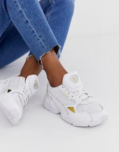 Бело-золотистые кроссовки adidas Originals Falcon - Белый