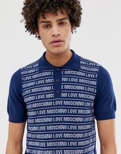 Трикотажная футболка-поло со сплошным принтом Love Moschino - Темно-синий