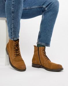 Светло-коричневые замшевые ботинки на шнуровке Jack & Jones - Рыжий