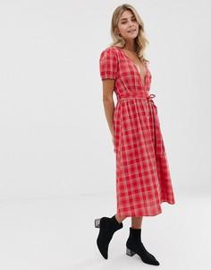 Платье миди в клетку с поясом Influence - Красный