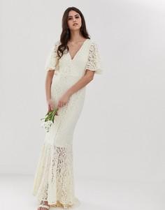 Кружевное платье со шлейфом Y.A.S Wedding - Белый