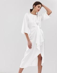 Белое платье миди с цветочным принтом Y.A.S - Белый