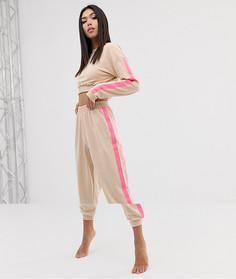 Укороченный свитшот и джоггеры с яркими полосками по бокам ASOS DESIGN - Розовый