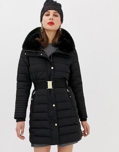 Черная дутая куртка с искусственным мехом на капюшоне Esprit - Черный