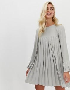 Плиссированное платье-трапеция мини с длинными рукавами ASOS DESIGN - Серый