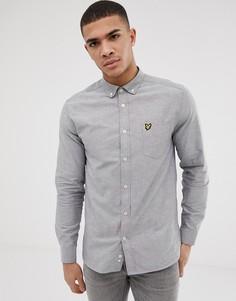 Lyle & Scott long sleeve oxford shirt in grey - Черный