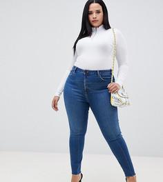 Темные выбеленные джинсы скинни с завышенной талией и необработанными краями ASOS DESIGN Curve Ridley - Синий