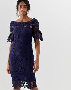 Кружевное платье с короткими рукавами Paper Dolls - Темно-синий