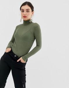 Трикотажный пуловер-водолазка Benetton - Зеленый
