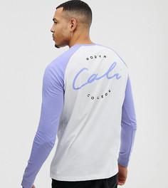 Свободная футболка с длинными рукавами реглан и надписью cali на спине ASOS DESIGN Tall - Белый