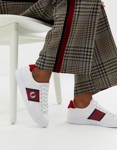 Парусиновые кроссовки с полоской и логотипом Fred Perry B721 - Белый