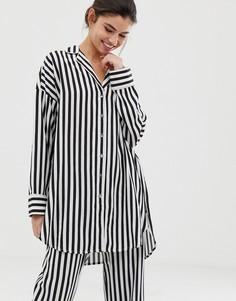 Удлиненная рубашка от пижамы в черно-белую полоску Lindex - Мульти