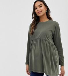 Свободный выбеленный лонгслив ASOS DESIGN Maternity - Зеленый