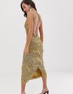 Облегающее платье миди с пайетками и бахромой ASOS EDITION - Золотой