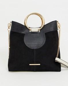 Черная сумка с круглыми металлическими ручками River Island - Черный