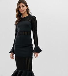 Платье миди со вставками в полоску и оборками ASOS DESIGN - Черный