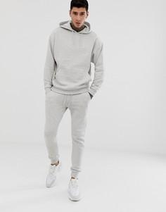 Светло-серый меланжевый спортивный костюм из oversize-худи и облегающих джоггеров ASOS DESIGN - Белый