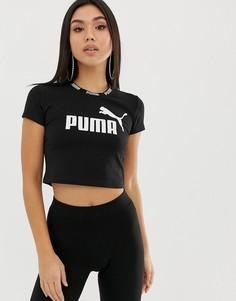 Черный кроп-топ с лентой Puma Amplified - Черный