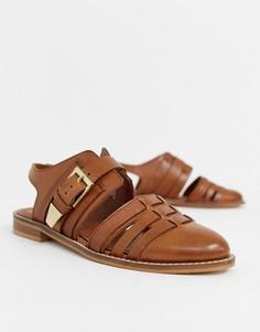 Кожаные туфли на плоской подошве с вырезами ASOS DESIGN Minister - Рыжий