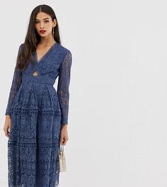 Кружевное платье для выпускного с длинными рукавами и вырезами ASOS DESIGN - Синий