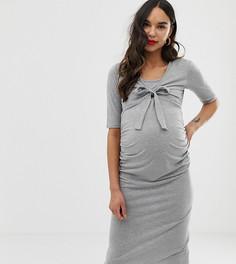 Серое облегающее платье с рукавами 3/4 и завязкой Bluebelle Maternity - Серый