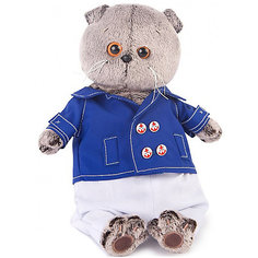 Мягкая игрушка Budi Basa Кот Басик в синем кителе, 19 см