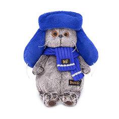 Мягкая игрушка Budi Basa Кот Басик в меховой шапке, 19 см