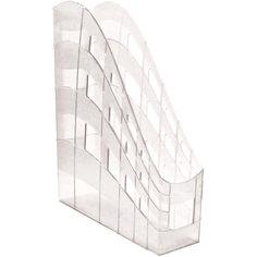 "Пластиковая подставка для бумаг ErichKrause ""S-Wing"" вертикальная, 75 мм, прозрачная"